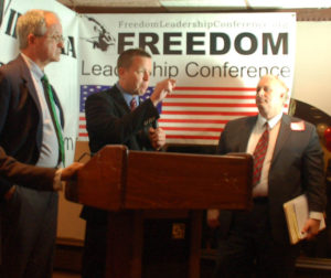 Attorney Jon Moseley, one of the speakers next Thurs. March 16, has been a frequent FLC speaker, shown here with Corey Stewart and Delegate Bob Marshal on Aug. 2, 2010.