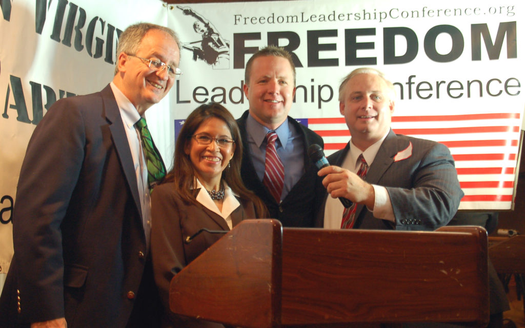 "August 2, 2010 ""Arizona Day"" conference speakers at Freedom Leadership Conference (L to R) Delegate Bob Marshall, Conference Chairman Emy Delgaudio, Corey Stewart, MC Jon Moseley."
