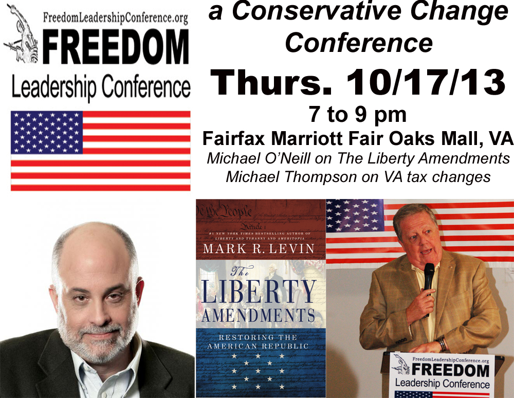 Freedom Leadership Conference, Thurs., Oct. 17, 2013, 7 to 9 PM