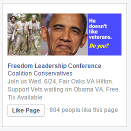 One of the ads which began running on Facebook to promote the 6/24 conference, thanks to the Sponsor donation of Concerned Veterans for America and Uniformed Services League, and two members of the Conference Leadership.