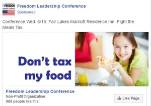 "The ""pizza girl"" ad campaign ""Don't tax my food"" which drew the ire of the pro-tax group."