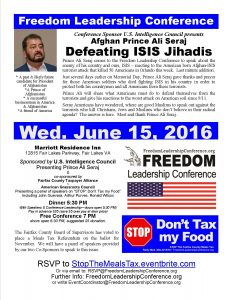 Flyer for 6/15 Conference featuring Afghan Prince & possible future President, Ali Seraj on topic, Defeating Isis Jihadis