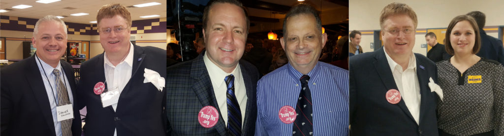 FLC Leaders Invite Candidates to 2/16 Governor Forum (L to R) - (1) Conference Board member Ronald Wilcox invites Dan Riggleman wearing TrumpYes button of conference co-sponsor Americans for the Trump Agenda; (2) Conference Board Member & Event Coordinator Richard Buck invites Corey Stewart – both wearing TrumpYes button; (3) Wilcox invites Senator Wagner through staff member Kristen, wearing TrumpYes button.