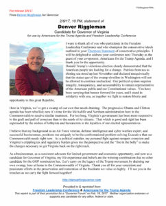 "Statement of Denver Riggleman, candidate for Virginia Governor, upon accepting invitation to speak to the ""Governor Forum"" of Freedom Leadership Conference on 2/16/17."