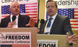 Candidates for governor Denver Riggleman and Corey Stewart appeal to conservatives at Freedom Leadership Conference co-sponsored by Americans for the Trump Agenda and Fairfax Free Citizen on Feb. 16, 2017 in Chantilly, VA.