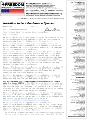 Invitation to Sponsor or Co-Sponsor (for organizations)