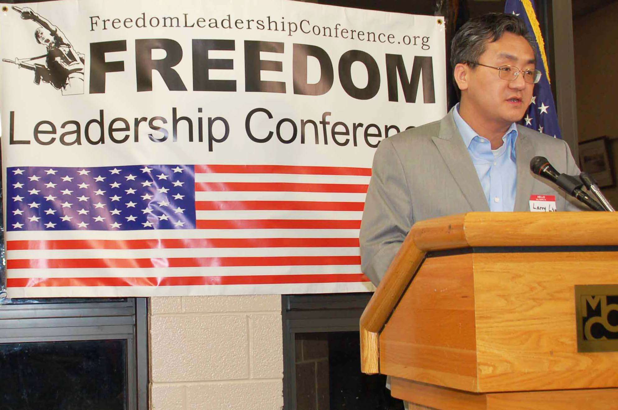 Dr. Larry Lie spoke out against the brutal persecution of people of faith, especially Falun Gong, in Communist China at the Feb. Freedom Leadership Conference, and returns for major remarks and to unveil the movie Free China: the Courage to Believe, at the 9/11 Conference.