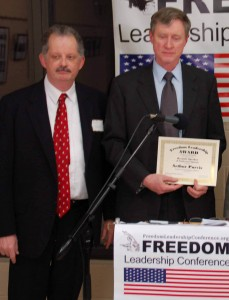 "Arthur Purves, President of Fairfax County Taxpayer Alliance, receives ""Freedom Leadership Award"" after his conference keynote remarks on March 27, 2013"