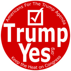 The button handed out free to dinner attendees by Americans for the Trump Agenda at the Freedom Leadership Conference on Feb. 16, was sported by both candidates for Governor who spoke to the conservatives, Denver Riggleman and Corey Stewart.